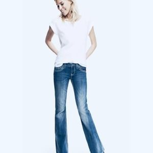 REROCK FOR EXPRESS LOW RISE FADED BOOTCUT WOMEN'S JEANS - SIZE 27